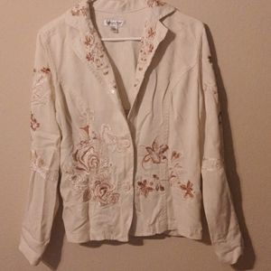 Embroidered Coldwater Creek Blazer Small